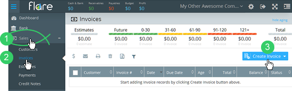 Sales > Invoices in Flare's main menu