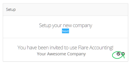 User accepts invitation after registering for Flare