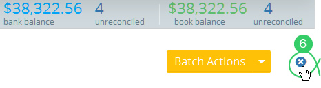Close bank reconciliation button