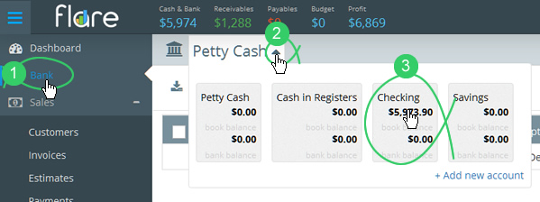 Bank in Flare's main menu