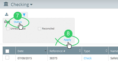 Click the filter's Status tab
