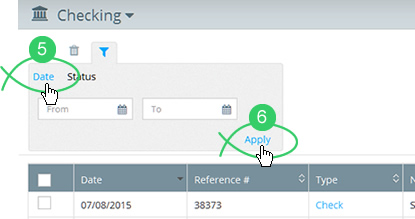Click the filter's date tab