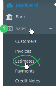 Sales > Estimates in Flare's main menu