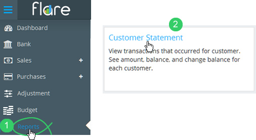 Click Reports in Flare's main menu then click the Customer Statement tile heading