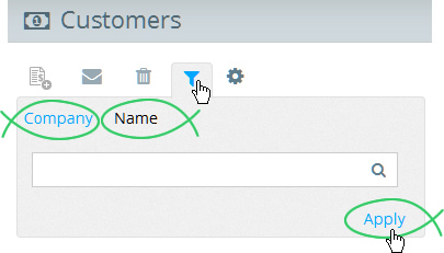 Use the search filter to search by Company Name or Name