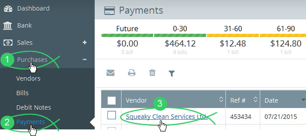 Purchases > Payments > choose vendor