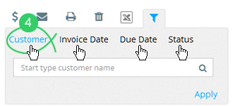 Click a search type tab: Customer, Invoice Date, Due Date, or Status