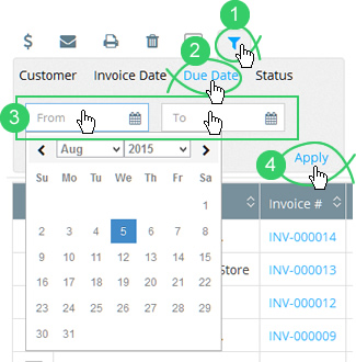 Click the filter icon and click the Due Date tab to search by due date
