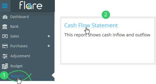 Click Reports in Flare's main menu and click the Cash Flow tile heading