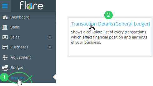 Click Reports in Flare's main menu and click the Transaction Details tile heading