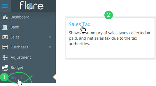 Click Reports in Flare's main menu then click the Sales Tax tile heading