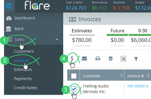 Click Sales > Invoices in Flare's main menu