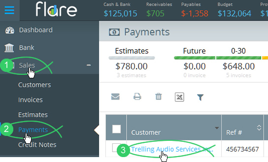 Click Sales > Payments in Flare's main menu