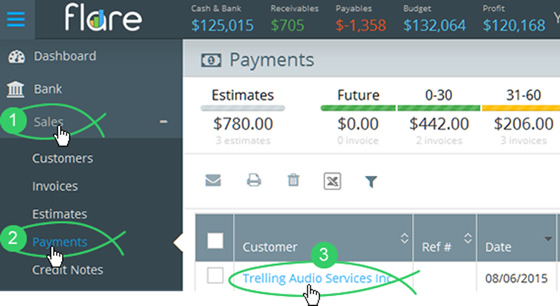 Click Sales > Payments in Flare's main menu and click the Customer name link