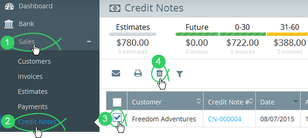 Click Sales > Credit Notes in Flare's main menu