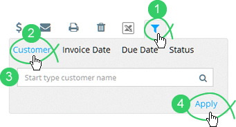 Click the filter icon and click the Customer tab to search by customer