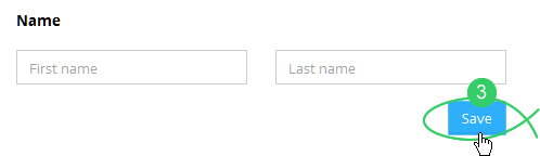 Enter a first name and last name and click Save