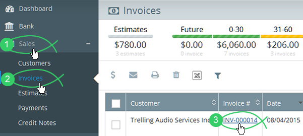 Click Sales > Invoices in Flare's main menu and click the Invoice # link