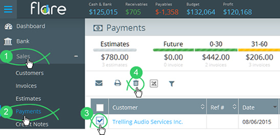 Click Sales > Payments in Flare's main menu and check the checkbox next to a payment