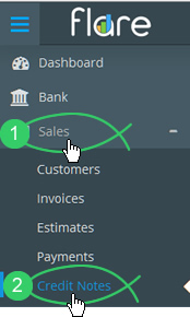 Click Sales > Credit Notes
