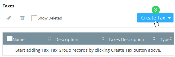 Click the Create Tax button