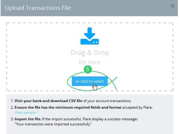 Browse for the CSV import file