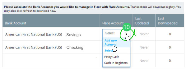 Create a Flare bank account and associate it with a bank account from the feed