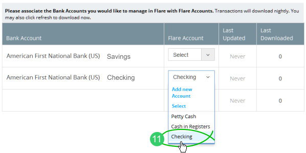Associate a bank account with existing Flare bank account