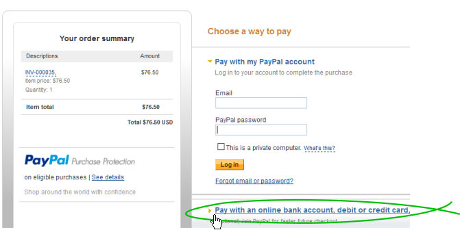 PayPal payment page