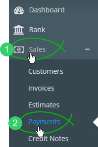 Sales > Payments in main menu