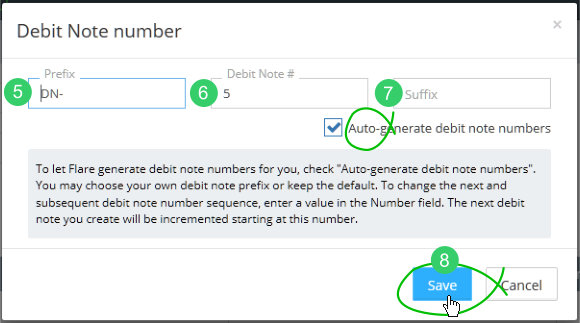 Debit note number settings